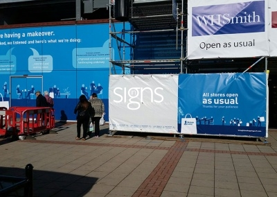 Stores Open as Usual Construction Site Banners