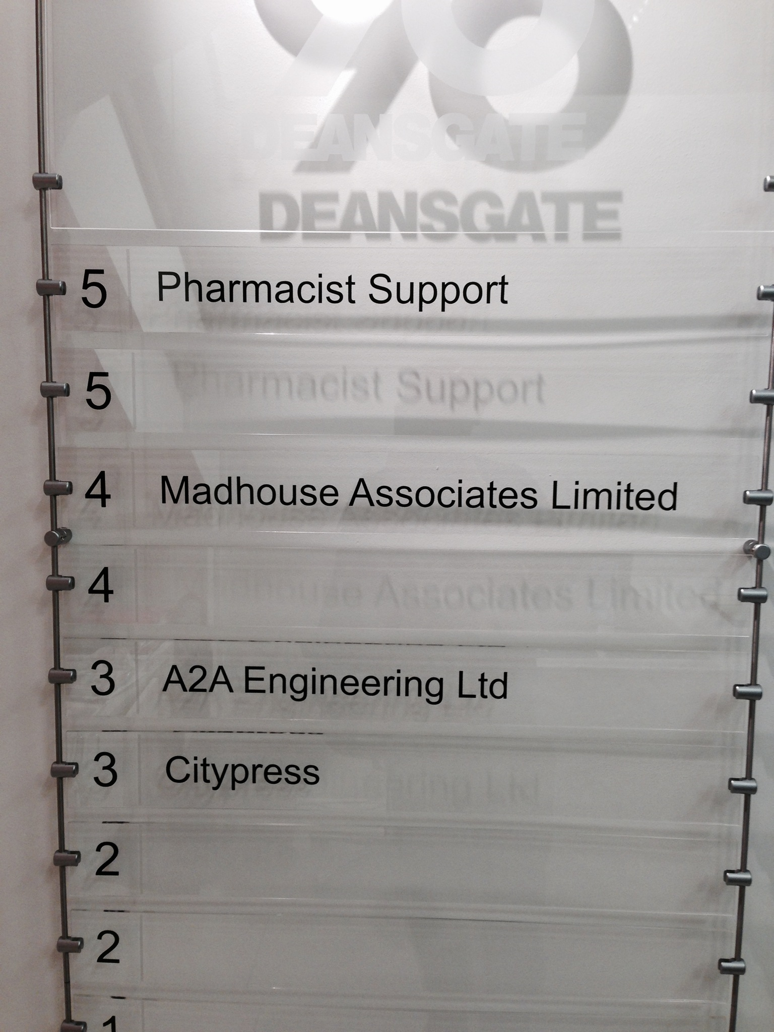 Deansgate Acrylic Directory Healthcare Signs