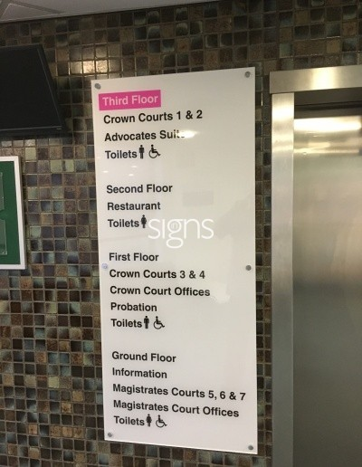 Magistrates Court Acrylic Directories for Receptions