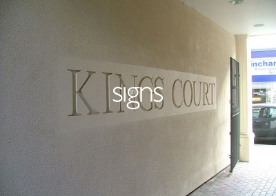 Kings Court Stone Business Signs