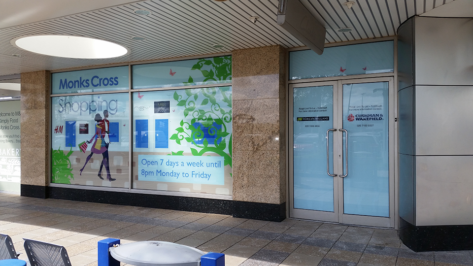Monks Cross Shopping Window Vinyl Signs